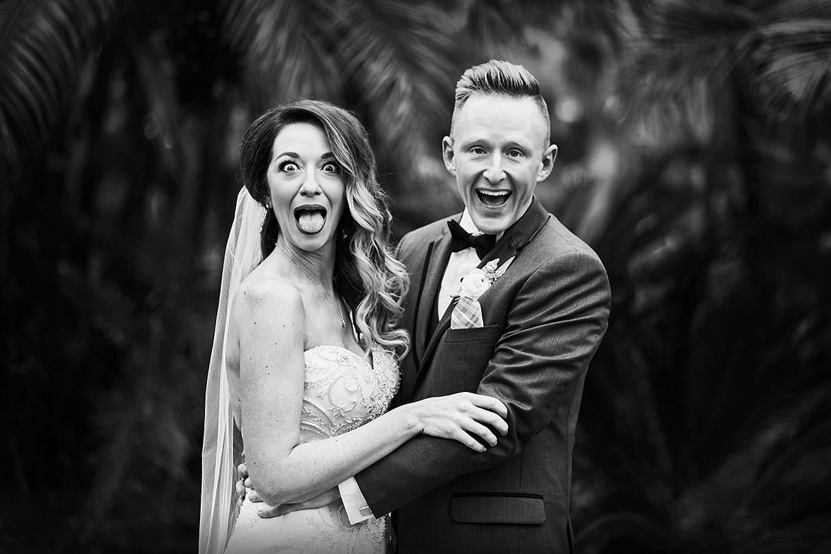 Fun Bride and Groom Photo Wedding Photographer Black and White