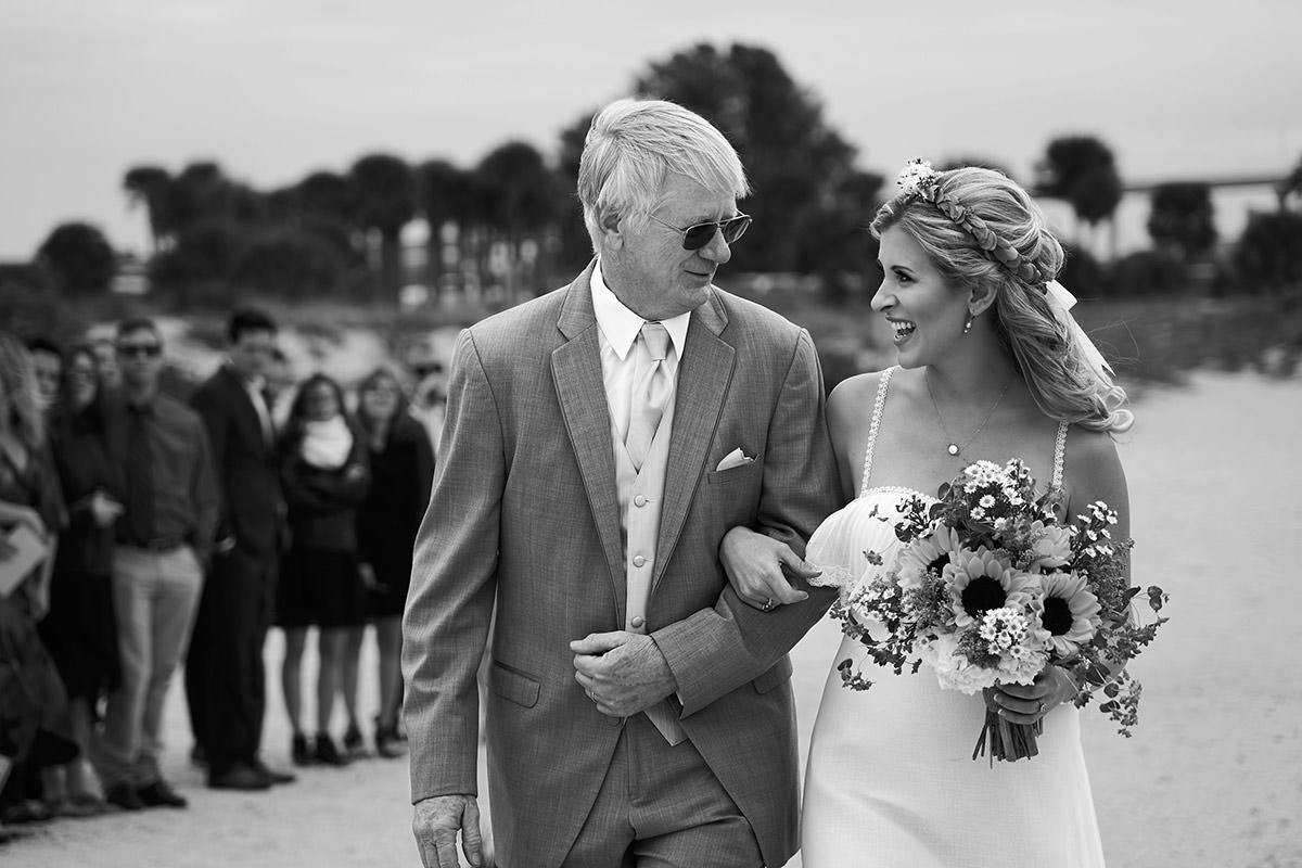 Father and Daughter Coming down the Aisle during Wedding