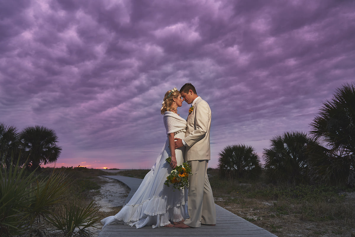 Bride and Groom Romantic Wedding Photography Amazing Sunset